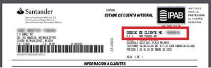 Codigo de cliente Santander